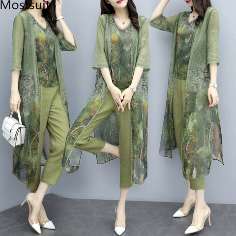 Summer Green Chiffon Printed 3 Piece Sets Women Plus Size Vest+cardigan+cropped Pants Suits Elegant Korean Womens Sets Femme Pakistan