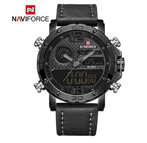 NAVIFORCE Роскошные брендовые кожаные мужские спортивные часы военные мужские кварцевые наручные часы светодиодный цифровые часы водонепрони... - 6