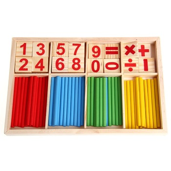 Math Manipulatives Wooden Counting Sticks Baby Kids Preschool Educational Toys Gifts New