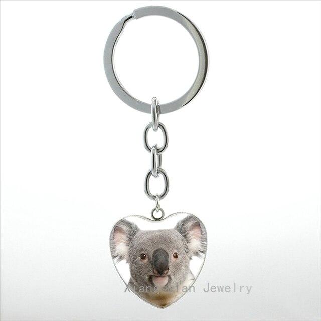 2017 nova moda Bonito Koala Koala chaveiro animal lindo pingente em forma de coração chaveiro artesanal anel homens mulheres jóias HP535