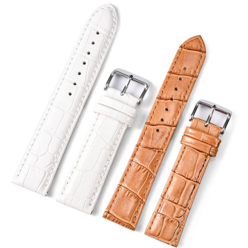 New Design Genuine Leather Watch band Strap 20mm 22mm Watches Bracelet Accessories white Brown Men Ladies Watchbands For Brand survival nylon bracelet brown