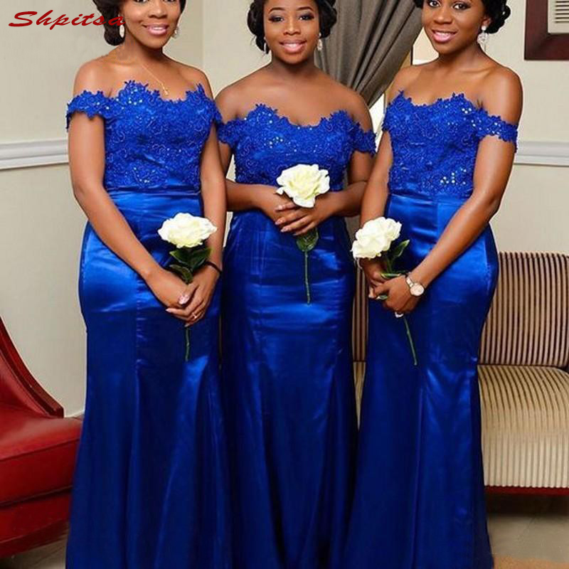 Lace Royal Blue   Bridesmaid     Dresses   Long for Wedding Party Women Mermaid Brides Maid   Dresses