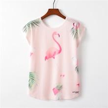 Floral Print Flamingos T-shirts Women Summer Kawaii Thin Style Short Sleeve Tee Top Harajuku Unicorn T Shirts Female Sexy Girl