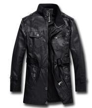 Mens PU Leather Fleece Jacket Motorcycle Men Bomber Coats Padded L 3XL Stand Collar Cool Fleece