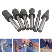 6 stücke 6mm Gravur Bit Fräser Burr Rotary Burr Set HSS Dreh Dateien Für Metall Kunststoff Holz Elektrische schleifen Cutter Datei