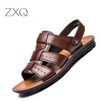 2017 England S Cow Leather Men Sandals Black Brown Hand Sewing Men Summer Shoes Breathable Beach