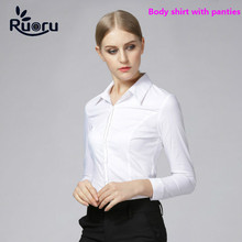 Ruoru Fashion Plus Size Blouse Blusas Body Shirt Blouses Women Tops Feminina White Slim Bodysuit Short Sleeve Office Clothes