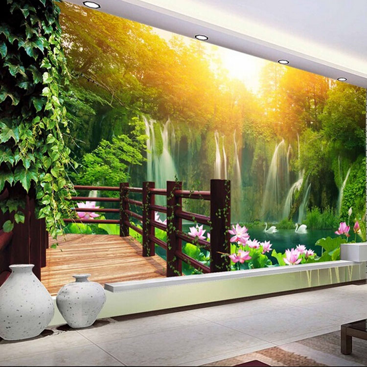 Custom photo wallpaper Custom large mural living room sofa TV background wall bedroom landscape painting scenery lotus wallpaper custom 3d stereoscopic large mural wallpaper wall paper living room tv backdrop of chinese landscape painting style classic