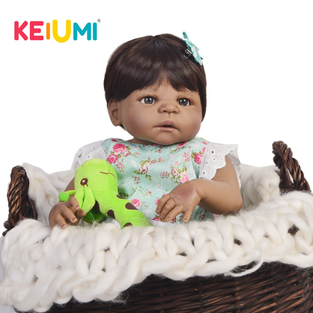 New KEIUMI 23 Fashion Black Skin Reborn Baby Dolls Newborn Girl Truly Full Body Silicone Boneca