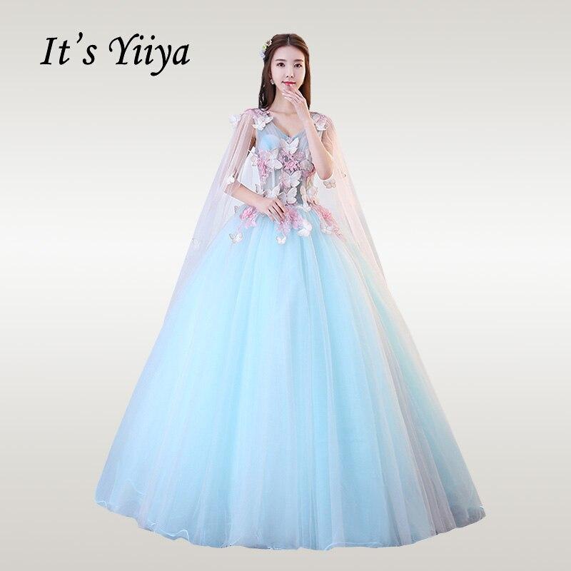 It's YiiYa Wedding Dress Elegant Appliques V-neck Sleeveless Blue Vestido De Novia Lace Floor Length Wedding Dresses CH008
