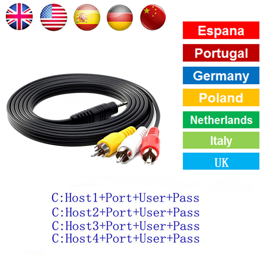 HD AV Cable 1 Year Clines for Satellite Receiver 7/8/10 clines very stable DVB-S2 via USB wifi for 1 year Europe for V8 SUPER v7