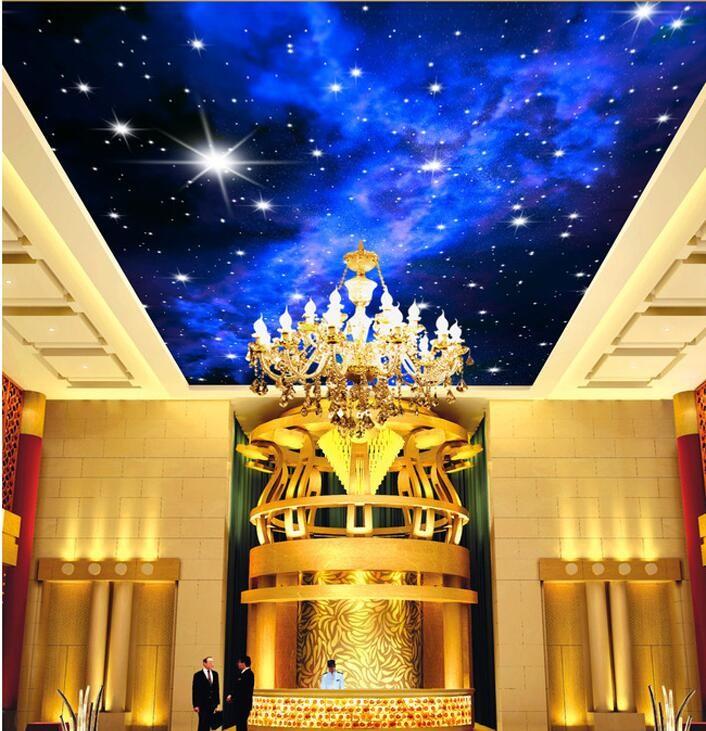 Niestandardowe zdjęcia tapety KTV 3D 5-gwiazdkowych Hoteli sen salon sypialnia sufit jasny sufit gwiazdy papier fototapetę malarstwo ścienne 8
