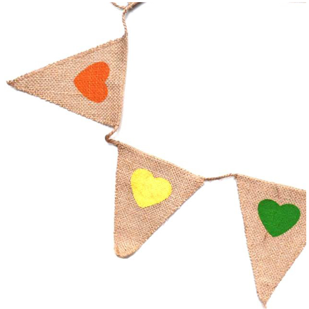 UESH-Vintage Bunting Flags with Cute Colorful Heart, Vintage Toys Fabric Jute Burlap Banner Shabby Chic Bunting for Baby Namin