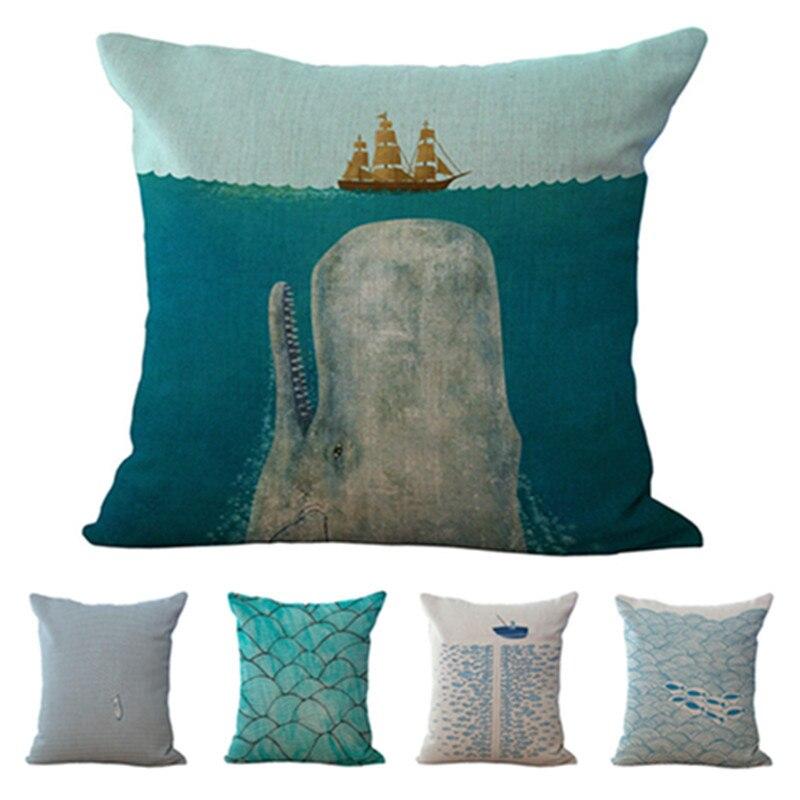 New Home Decor Car Throw Pillow Fashion Style Sailing Boat Cushion Square Printed Almofadas High Quality Cotton Linen Fundas