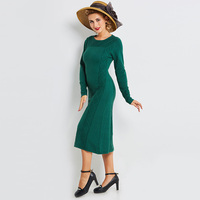 Sisjuly Women Sweater Dress Long Sleeve Knee Length Solid Green Vintage Straight Round Neck Geometric Girl