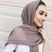 2019 New Pearl Chiffon Folds Solid Color 85*180cm Muslim Womens Headscarf Hui Costumes Wrinkle Hot Wholesale