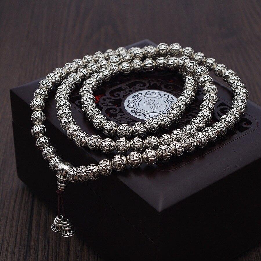 108 бусины мантра браслеты для мужчин и женщин шесть слов выгравированы 999 серебро Ом Мани Падме Хум молитва Многослойные браслет