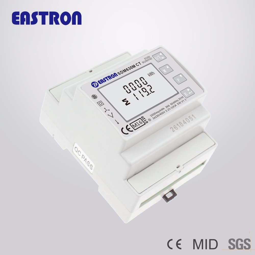US $73 0 |SDM630MCT, 1A/5A CT connected, 3 Phase DIN Rail Multifunction  Energy Meter,Backlit LCD screen