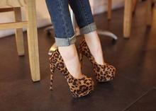 Leopard Pumps With Platform Womens 2016 New Arrival 14CM High Heel Leopard Shoes Free Shipping