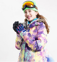 Free Shipping 2014 New Womens Colorized Plaid Waterproof Warm Snowboard Jackets Ladies Colorful Grid Ski Jacket