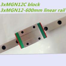 3 шт. 12 мм линейная направляющая MGN12 L600mm линейная шина с MGN12C линейных вагонов блок для ЧПУ DIY и 3d-принтер XYZ cnc
