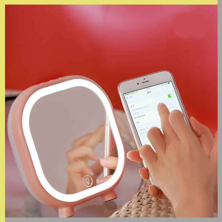 LED makeup mirror table lamp touch multi-function Bluetooth audio table lamp desktop mirror birthday gift woodpow makeup mirror lamps touch screen