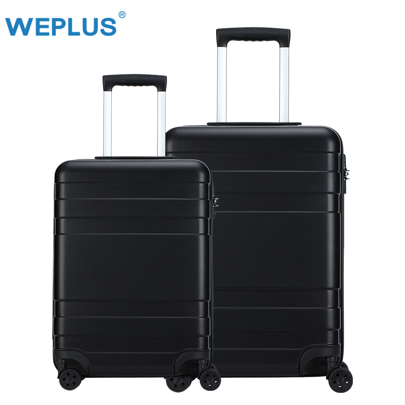 20 inch 24'' 2 pcs black luggage set carry-on Suitcase with wheels PC travel trolley suitcase vintage TSA Lock Business Boarding