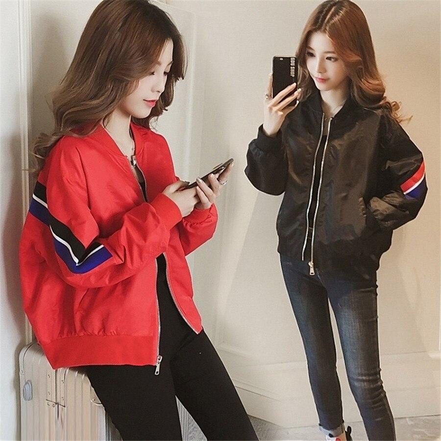 Women   Basic     Jackets   Female Zipper Pockets Casual Long Sleeves Coats spring Autumn Windbreaker   Jacket