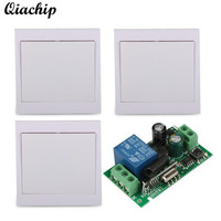 QIACHIP AC 110V 220V 1 CH 433mhz Remote Control Switch Receiver 86 Wall Panel Transmitter For