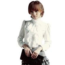 Ретро блузка с оборками, женская рубашка, водолазка, воротник с длинным рукавом, Формальные Блузки, Топ для женщин, Ретро стиль, белый, черный цвет, плюс размер 2XL