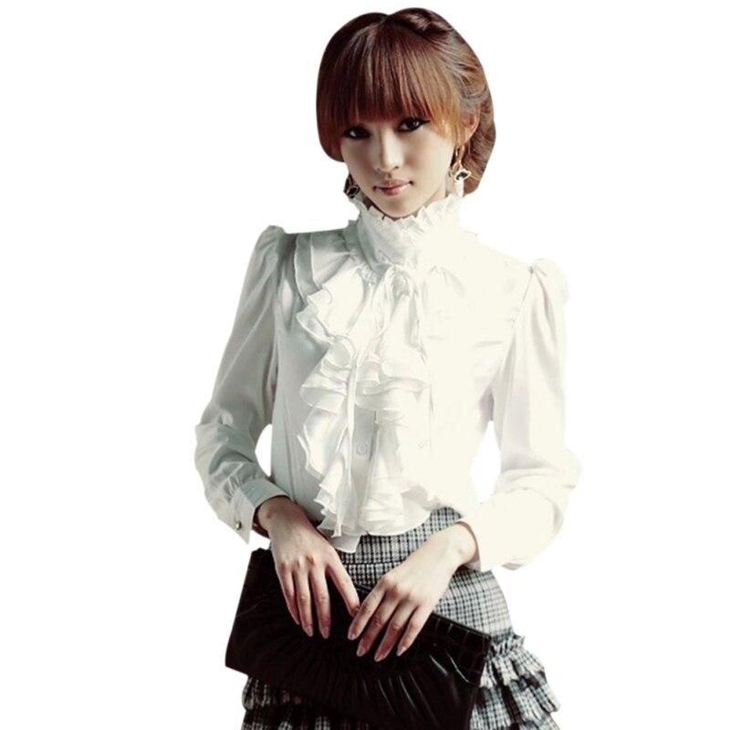 2018 Retro Babados Blusa Mulheres Camisa de Gola Alta Collar Manga Comprida Blusas Formais Top Das Mulheres Do Vintage Preto Branco Plus Size 4XL