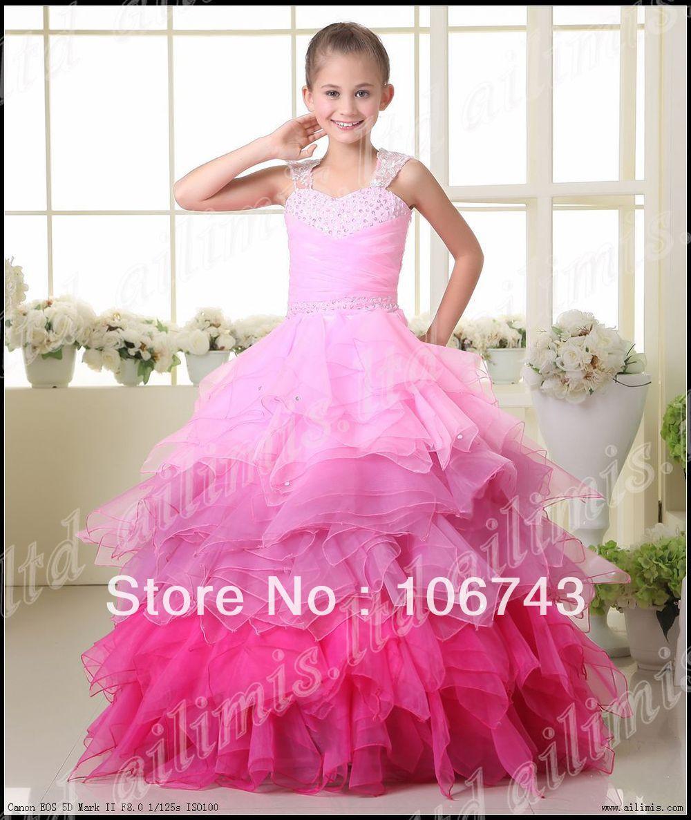 free shipping 2016 Hot Kids Pageant Dance Party Princess Ball Gown Formal vestidos de noiva em renda pink   Flower     Girl     Dresses