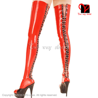Sexy Latex Stockings Red With black lacking at back feet wear feet foot hose Rubber long high stockings plus size XXXL WZ 018