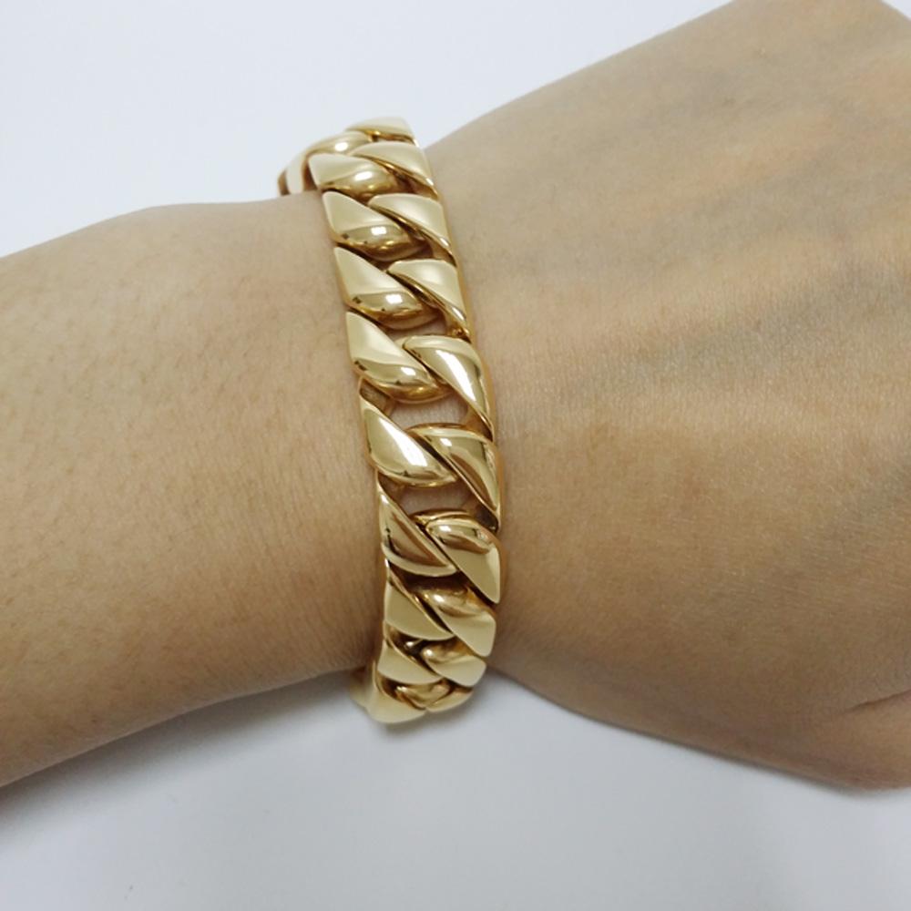 Hot Sell Mens Jewelry Gold Stainless Steel Curb Chain Bracelet High Quality  Jewelry New Gift(