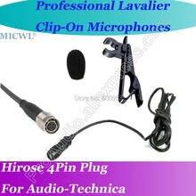 MICWL Beige Wireless Lavalier Lapel Microphone for Audio Technica Mic System Hirose 4Pin plus