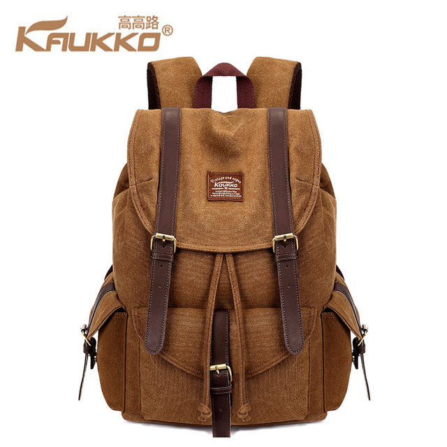 31c86c31ec KAUKKO Canvas Backpack Vintage Canvas Laptop Men s Backpack Schoolbag  Rucksack Fashion Boys And Girls Schoolbag Leisure Backpack