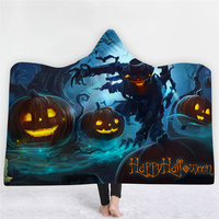 Horror Halloween Props Soft Fluffy Halloween Blanket Thick Warm Wearable Scary Adults Children Halloween Costumes For Men Women