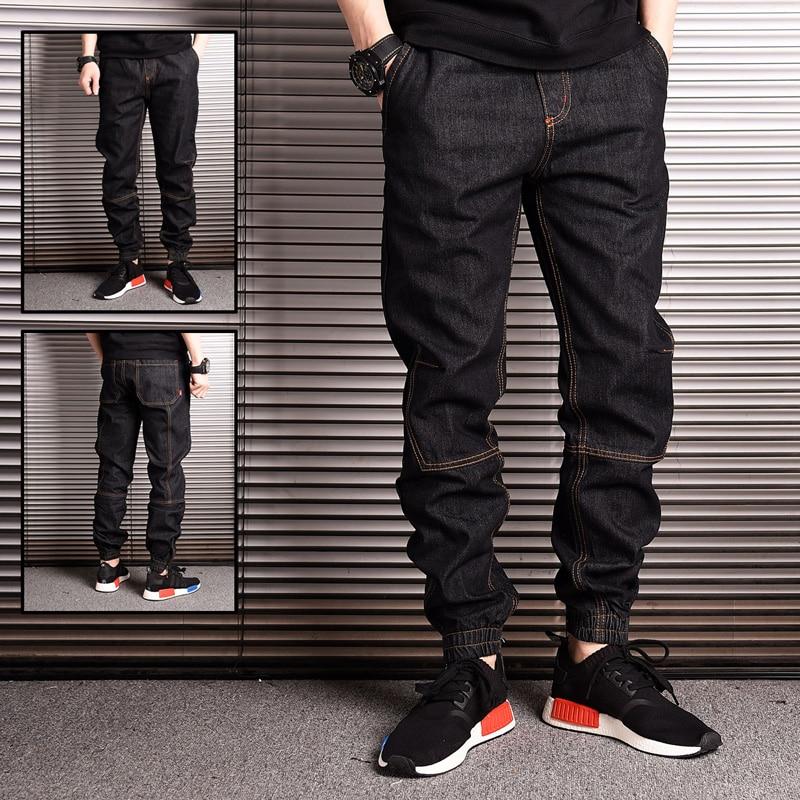 Vintage Designer Fashion Men Jeans Spliced Elastic Waist Loose Fit Hip Hop Jeans Men Japanese Style Slack Bottom Joggers Jeans