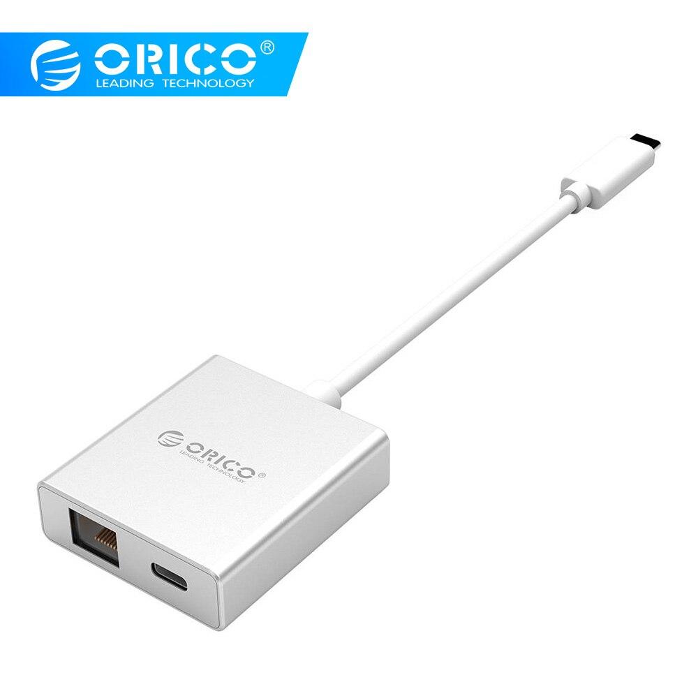 Adaptateur Mini ORICO type-c vers Gigabit Ethernet RJ45 avec chargeur PD séparateur Usb pour MACbook pro Mac Windows Linux PC