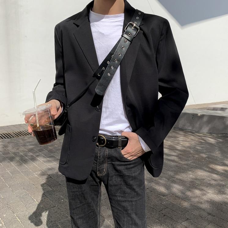 Весенний мужской костюм, корейский Повседневный стимпанк homme, мужской пиджак, хлопковый Классический английский стиль - Цвет: black