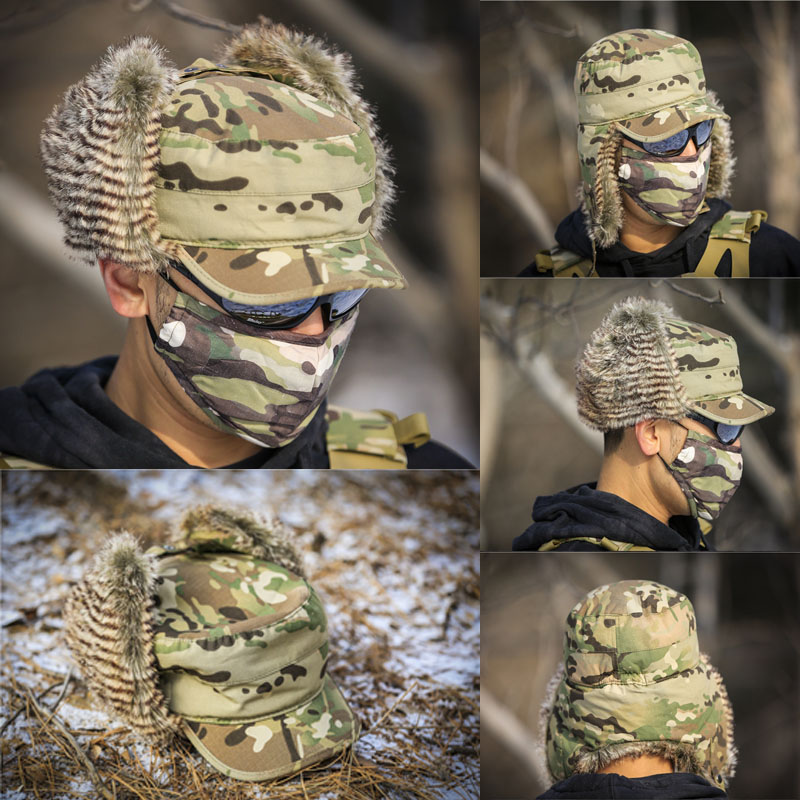 multicam tactical bomber hat with loop in top cp winter hunting
