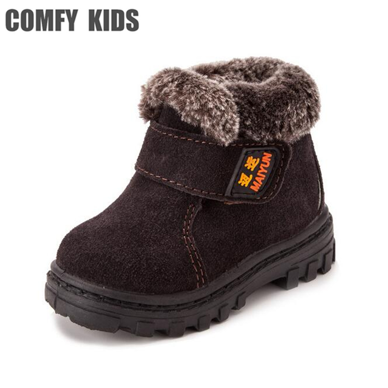 Top Brand Quality Winter Warm Child Snow Boots Shoes Thicken Cow Muscie Sole Plush Boys Girls
