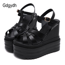 Gdgydh Cross-tied Lady High Heels Platform Open Toe Ankle Strap Wedge Heel Sandals Shoes Bohemia Wedding Shoes For Women White(China)