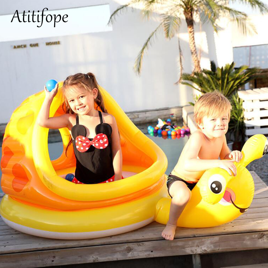 Yellow Snail Inflatable Paddling Pool Summer Children Play Pool Birthday Gift Non-Ironing