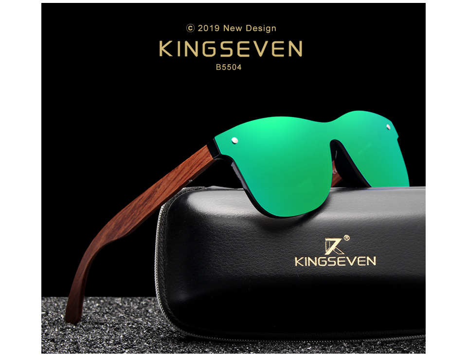 KINGSEVEN Bubinga Wooden Men's Sunglasses Women Polarized Retro Rimless Green Mirror Lens Sun Glasses Handmade Driving Eyewear