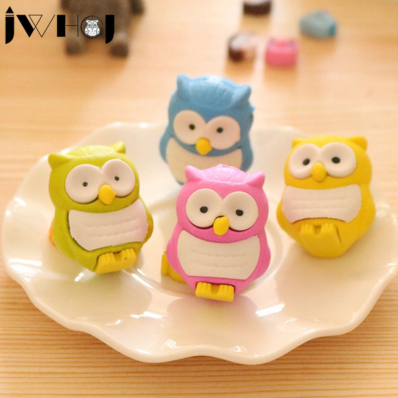 2 Pcs  Novelty 3D Owl Shape Rubber Eraser Creative Kawaii Stationery School Supplies Papelaria Gift For Kids Free Shipping