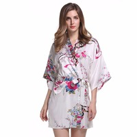 2017 New Style Ladies' Sexy Satin Robe Dress Gown Women Elegant Print Nightgowns Kimono Bathrobe Flower Nightdress One Size G01