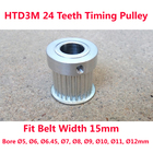 HTD 3M Timing Pulley 24 teeth Bore 5mmm ~12mm fit belt width 15mm for CNC laser machine engraving machine High quality