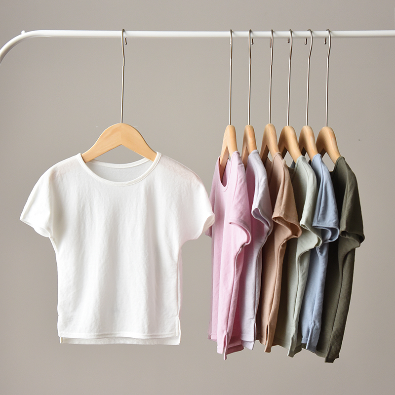 Kids Girls t-Shirts Short-Sleeve Boys Tops Solid-Color Casual Summer Tee Thin RT480
