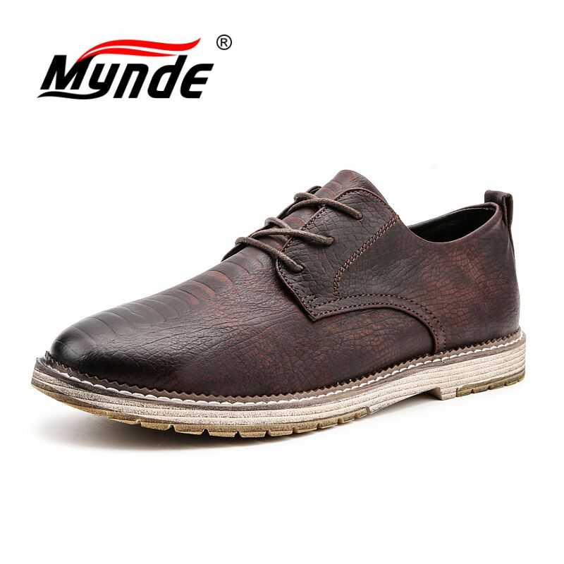 Mynde Brand New Crocodile Pattern Leather Men's Shoes Italian casual Shoes Men Business Fashion Men Flat Shoes Plus Size 38-47 new 2017 autumn men leather shoes fashion design weave pattern handmade men casual leather shoes size 38 44
